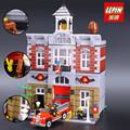 LEPIN 15004 City Street Creator Fire Brigade Model Building Kits Block Kid 2313Pcs Bricks Compatible With
