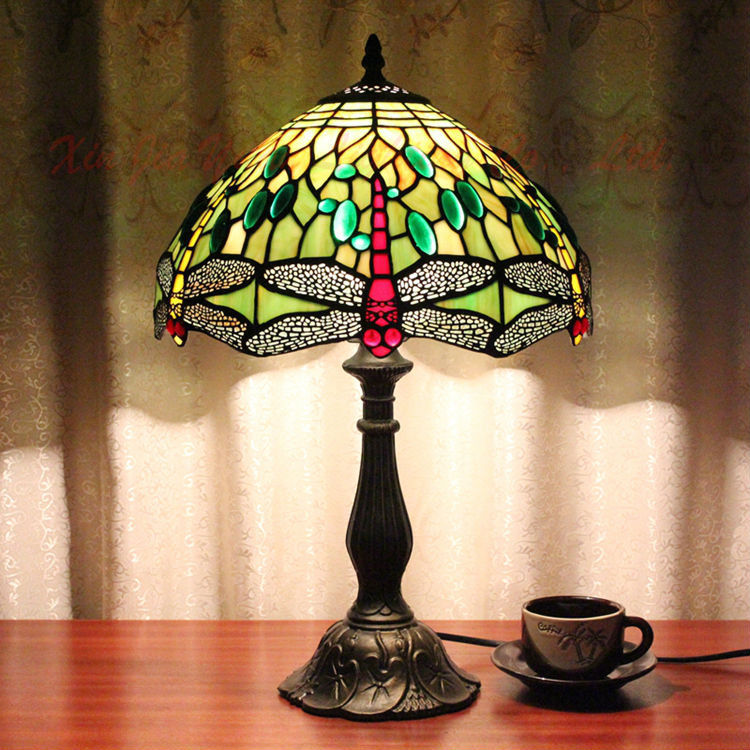 Tiffany Style Table Lamp Stained Glass Lustre Handmade Lampshade Christmas Decorations Home Desk Lights Light Fixtures - Broadway Lighting store