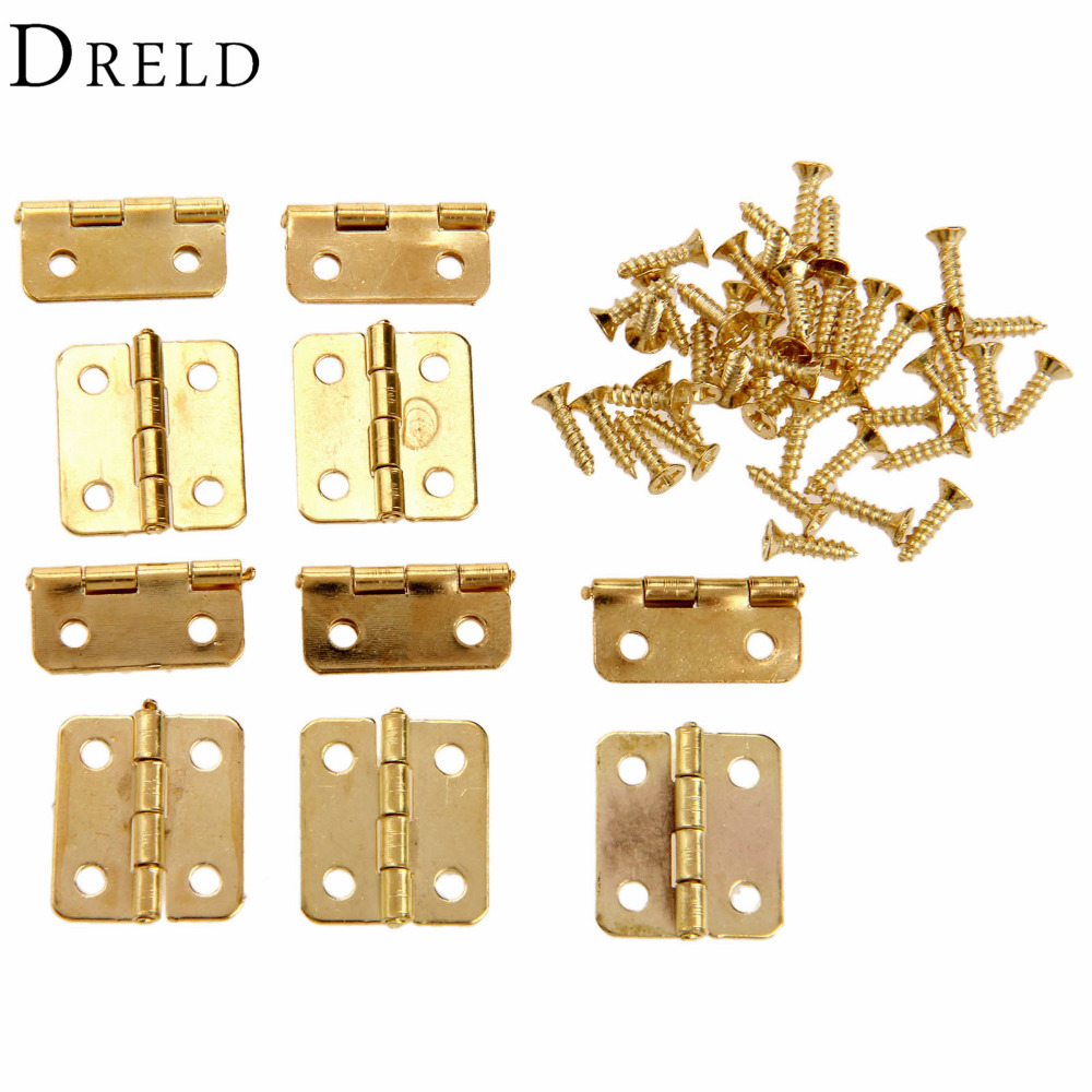 10Pcs Kitchen Cabinet Door Hinges Furniture Accessories 4 Holes Gold Drawer Hinges for Jewelry Boxes Furniture Fittings 18x16mm(China (Mainland))