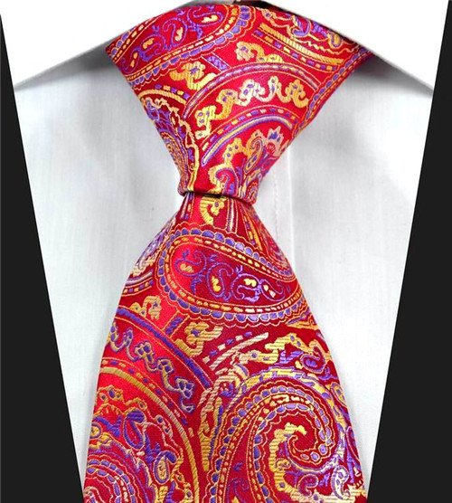 NT0332 Red Yellow Paisley Man's Jacquard Woven Silk Polyester Classic Tie Luxury Business Wedding Party Fashion Casual Necktie - askformore store
