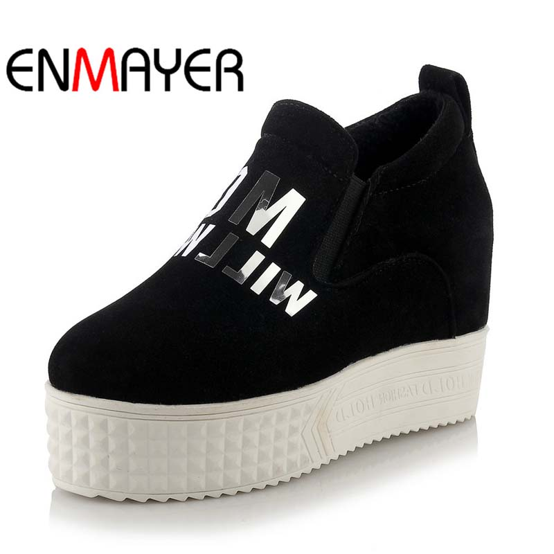 ENMAYER New Girl Black white gray red Round Toe Platform Shoes Big Size34 43 Wedges High Spring Autumn Leisure Women Pumps - Shop1875134 Store store