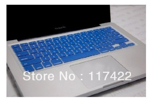 """Blue Silicone Thin Soft Keyboard Cover Skin for Macbook Pro 13"""" / 15"""" + Clear screen protector"""