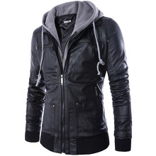 High Quality Men Faux Leather Fake 2pcs Hoodies Jacket Personalized Mens Cotton Hooded Stitching Jackets Leather Coat(China (Mainland))