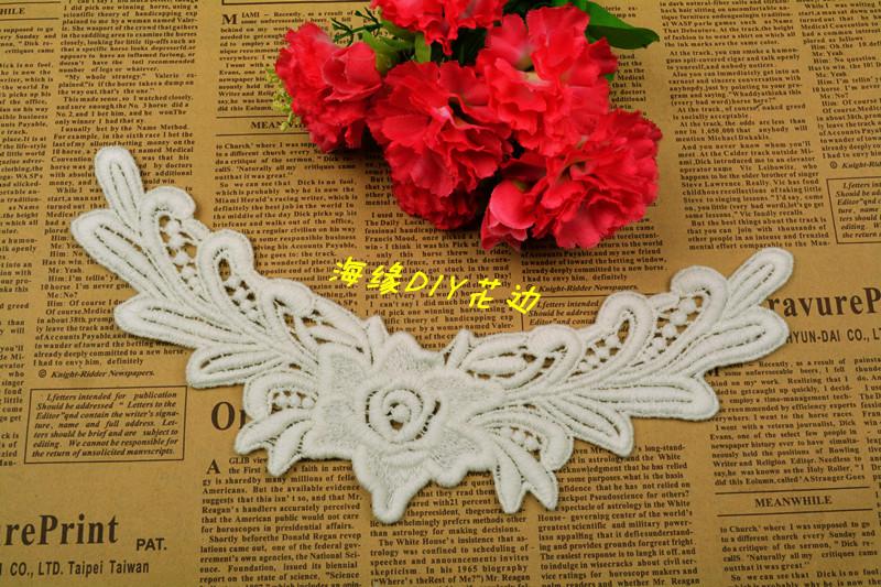 Diy clothes accessories delicate little angel 100% cotton cravat patch embroidery laciness 24cm 6.5cm materials(China (Mainland))