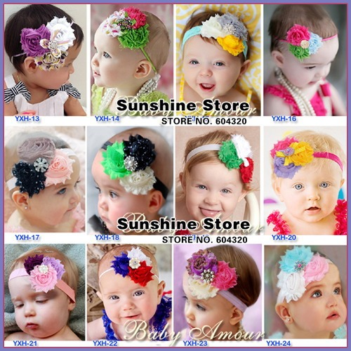 2015 ruffles baby photo shabby flowers headband diamond/rhinestone/pearl/sequin bow Christmas props hairband #2B1995 10 pcs/lot