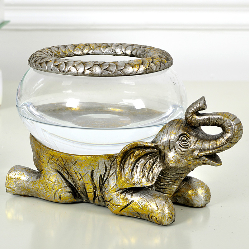 Lucky Elephant Aquarium European Retro Home Decorations Crafts Ornaments Wedding Gift Ideas Fishbowl