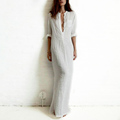 Good quality summer Women Fashion Dresses Linen Cotton Casual Long Split Maxi Wrap shirt Dress Ladies