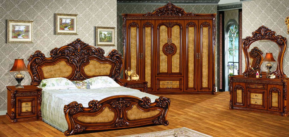 Royal Antique Bedroom Set Furniture Excellent Wooden Carving Beds