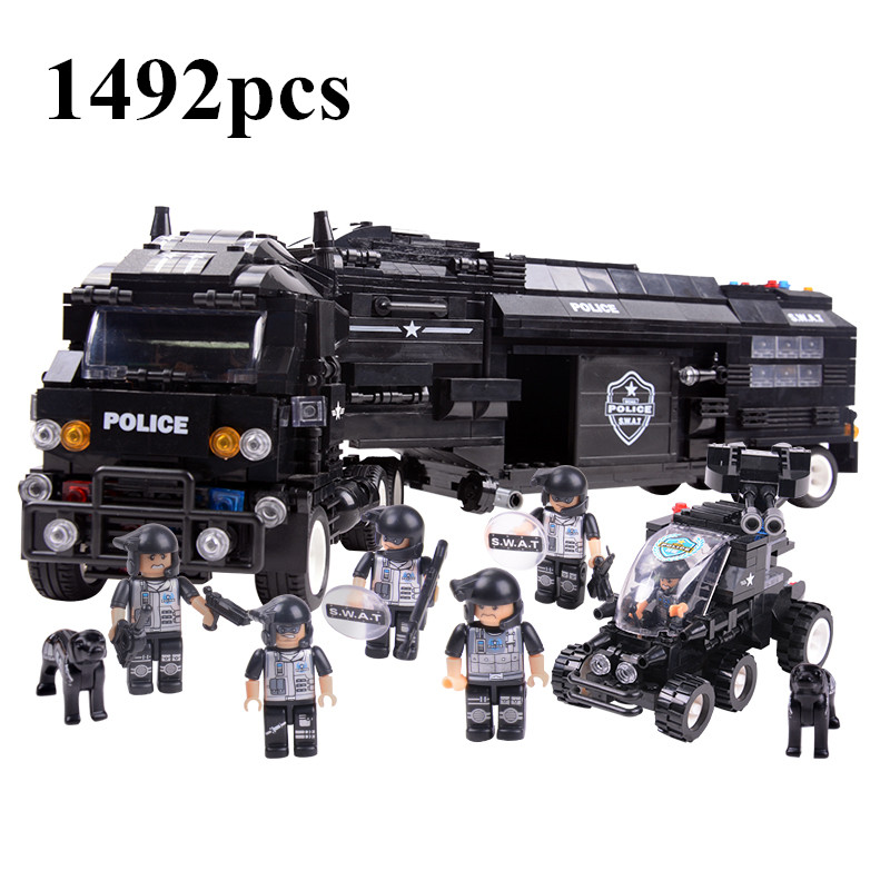 SWAT World War II Troops military Building Blocks Sets Police Cars Model Minifigures Kids Bricks Toys compatible leping DIY - Yiwu Teng Can E-commerce store