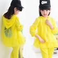 New Girls Clothing Sets Lace Flower Baby Kids Sun protective Clothes Suit Children Coat Pants Roupas