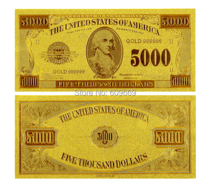 Gold Leaf US 5000 Dollar America Gold Banknotes,Golden Craft Gold Plated Gift Banknote Business Gift(China (Mainland))