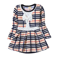2016 New 1-4Y little child dresses spring autumn plaid girls clothing cute bow long sleeve dresses for baby girls
