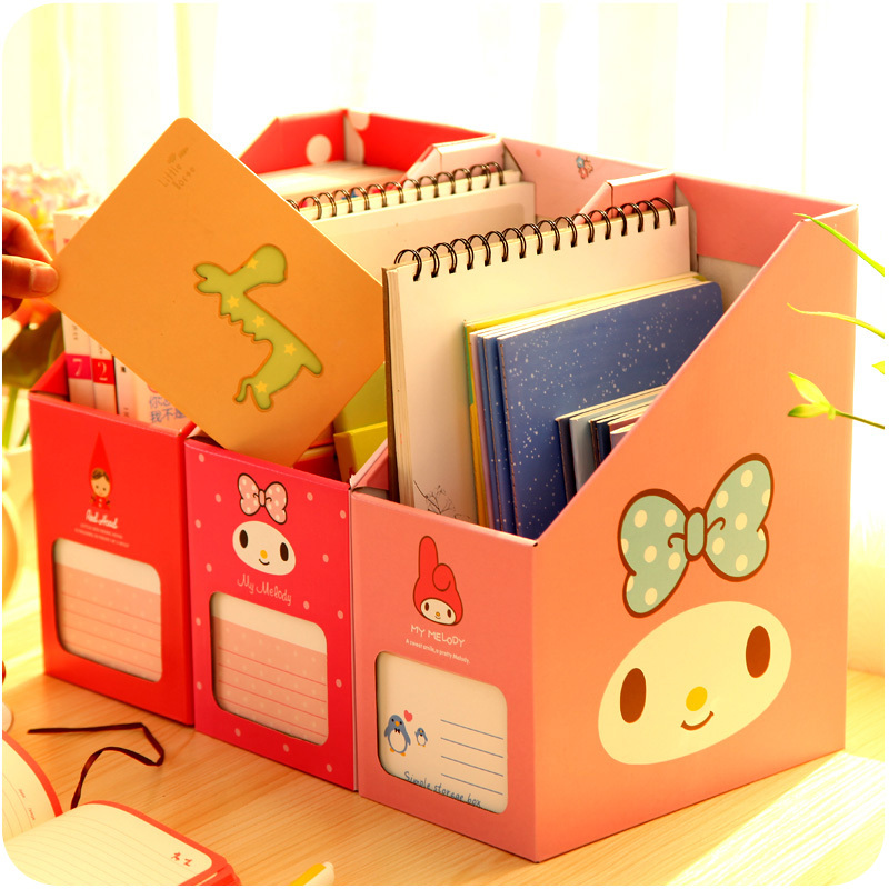 Korea desktop file papery storage box cartoon animals grocery storage for books papers for students and stuff(China (Mainland))