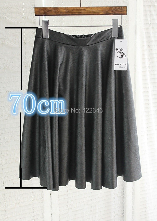 Vintage high waist skirt pleated bust PU faux women leather skirts expansion (A2395) - Betterservice Tech Co.,ltd store