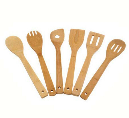 Cooking tool sets 6 pcs lot bamboo wood kitchen spatula for Kitchen tool set of 6pcs sj