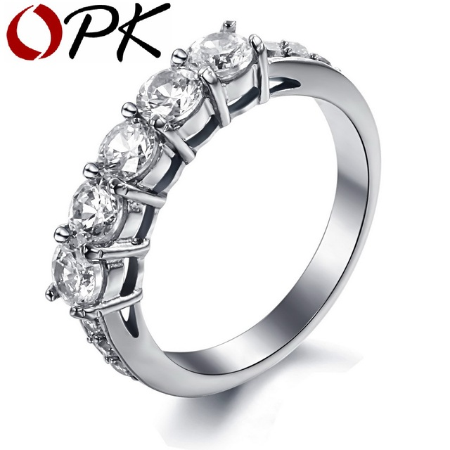 OPK JEWELRY AAA Simulated Diamond Wedding Bands Titanium Steel Couple Ring Decorate Clear Rhinestone 7645