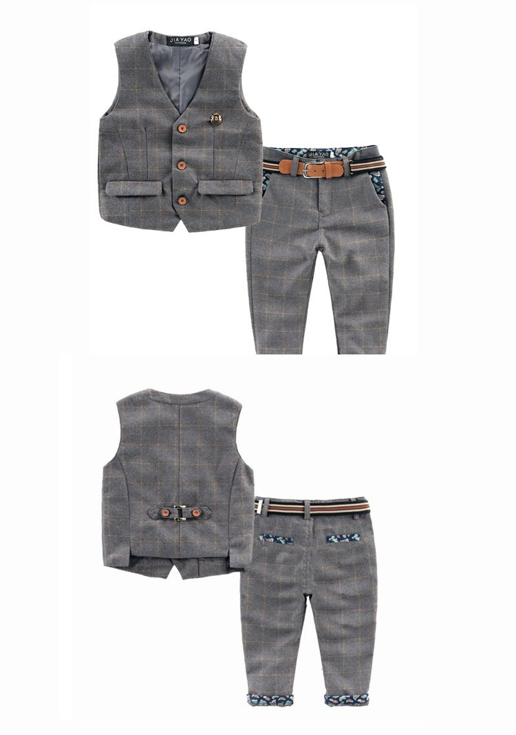 Скидки на 2016 осень новых детей Англии стиль детские мальчиков одежда набор плед дети жилет + брюки мальчик смокинг костюм для лямки ребенок одежда