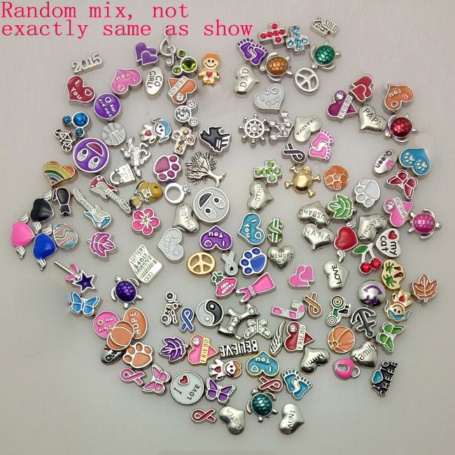 100pcs/lot for living glass locket mix design floating locket charms(China (Mainland))