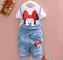 Children's Sets Minnie Mouse Short Sleeve Tops T-shirt & Denim Overalls Girl Clothing Suits Vestidos New Summer Kids Clothes