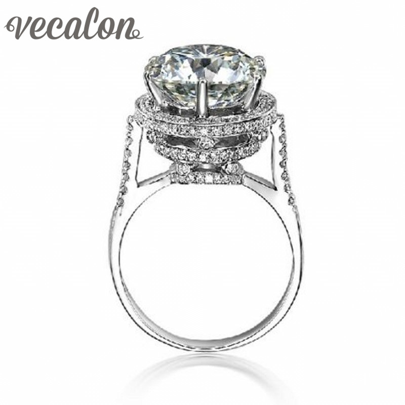Vecalon 2016 Brand Design Female Crown ring 5ct AAAAA Zircon cz 925 Sterling Silver Engagement wedding Band ring for women(China (Mainland))