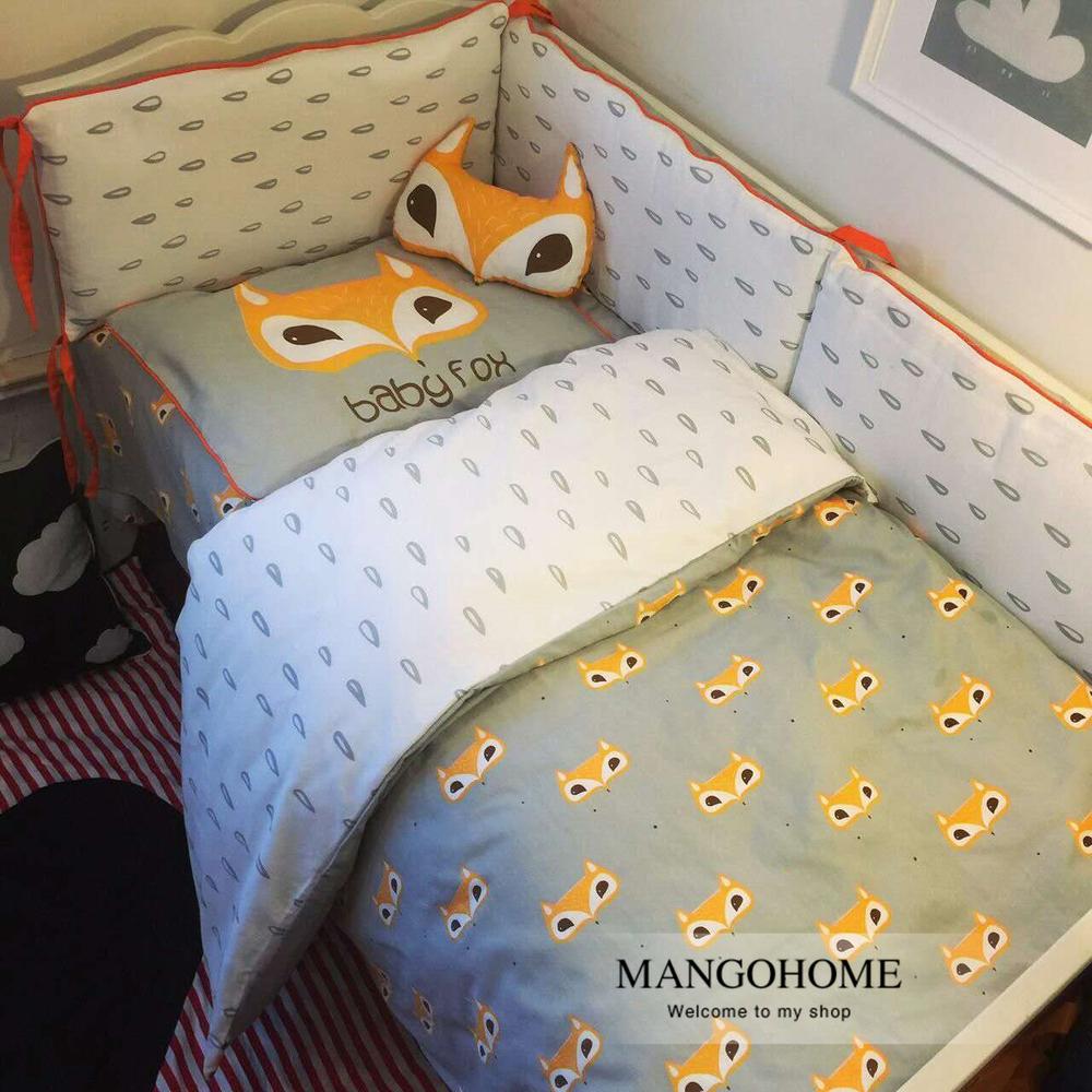 Ребенка постельных принадлежностей 3 шт./компл. кроватки постельных принадлежностей нового прибытия симпатичные фокс дизайн 100% хлопок для новорожденных лучший подарок