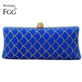 Royal Blue Golden Scale Crystal Women Metal Fur Evening Clutches Purse Ladies Wedding Party Bridal Handbag