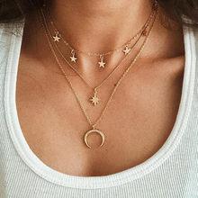 Bls-milagre Bohemian Multi layer Pingente Colares Para As Mulheres Moda Ouro Geométrica Charme Chains Colar de Jóias Por Atacado(China)