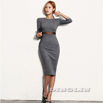 2015 новый дамы женщины платья осень зима работа офис с длинным рукавом платье ну вечеринку сексуальная клуб Bodycon миди Vestido CL1560
