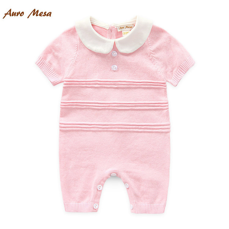 2016 New Baby Summer Knitted Rompers Short-sleeve Newborn Bebes One-piece Jumpsuit(China (Mainland))