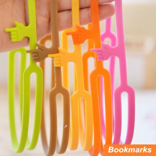 50 pcs/Lot Silicone finger bookmarks Book holder Handy print papelaria marcador de livro Stationary Office School supplies 6468(China (Mainland))