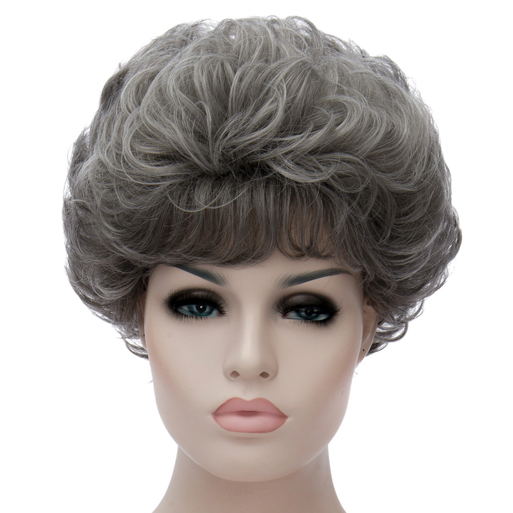 Fashion Gray White Women Short Curly Wave Bangs Haircut Cosplay Party Wigs <br><br>Aliexpress