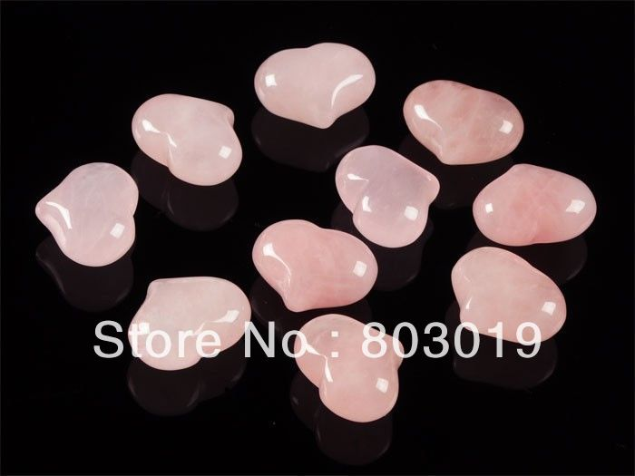 1pc 25mm Rose quartz puff LOVE hearts 1 inch Crystal healing Reiki stone Chunky Pocket stone(China (Mainland))