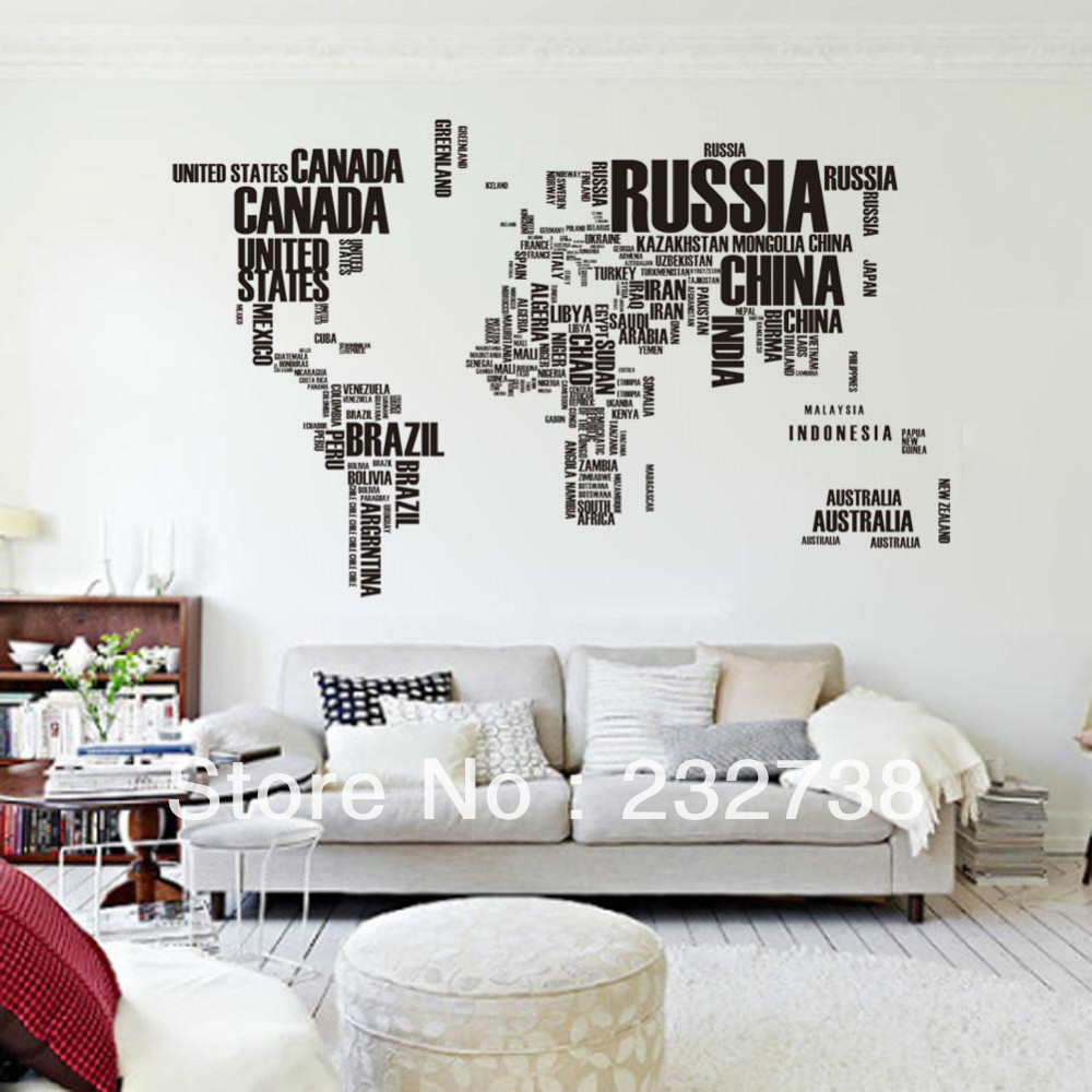 World map sticker for wall india - English Alphabet World Map Large Wall Stickers On The Wall In Home Decoration Office Map Sticker
