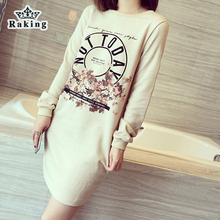 2015 New Long Sleeve Dress Fashion Casual Beige Color Hoodies Loose All-match Dress Cotton Print Female Sweatshirt(China (Mainland))