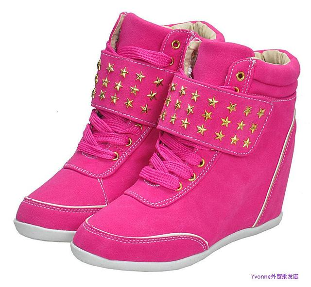 Colorful Pure Color Women Elevator Sneakers Fashion Short Sport Boots Velcro With Lace Boots Star Buckle Free Shippig