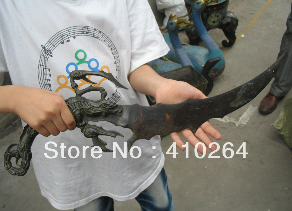 0116P $old craft$ Fast shipping Crab sword knife bronze Chinese Classic Statue (A0314)(China (Mainland))