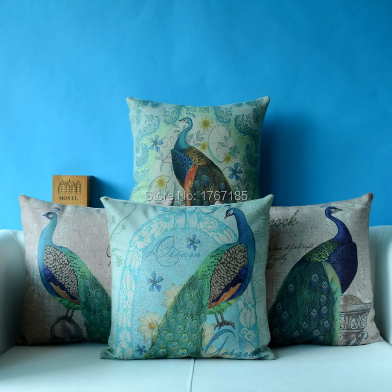 vintage peafowl cotton linen pillowcase modern home seat
