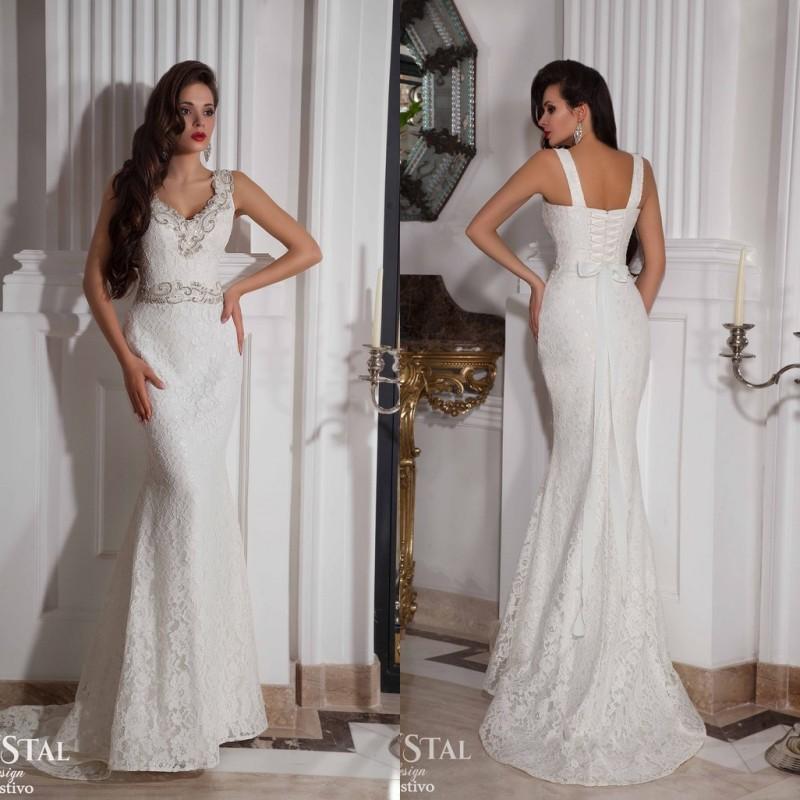 2016 бретельках V шеи бисероплетение свадебное платье русалка часовня поезд длиной до пола пояса люкс свадебные платья SY034