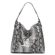 MAIS REAL marca Hobo sacos para as mulheres 2019 grande bolsa de ombro fêmea sacola grande saco de impressão serpentina Python bolsas de luxo(China)