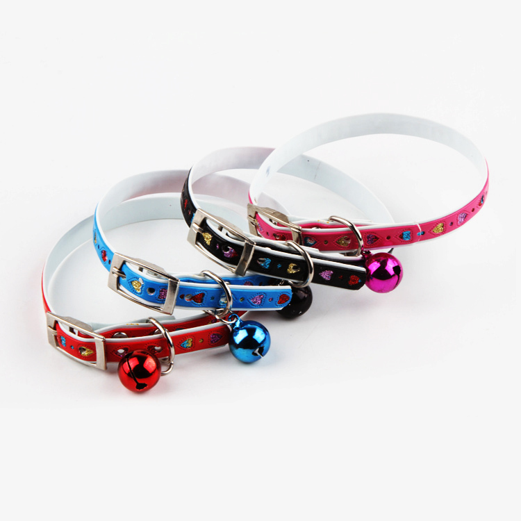 New hot sale Fashion Cute Pets Love Pattern Bell Pendant Necklace Jewelry Dog Collars 4 Colors Drop shipping(China (Mainland))