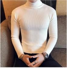 터틀넥 스웨터 남성 울 풀오버 남성 스웨터 스트라이프 거북이 남성 스웨터 점퍼 캐주얼 열 고품질 무스(China)