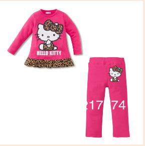Hello Kitty Set Wholesale 5set/LOT 2013 Hello Kitty Girls Long Sleeve Tshirt + Leopard Long Pants  Clothing Set  5sets / lot