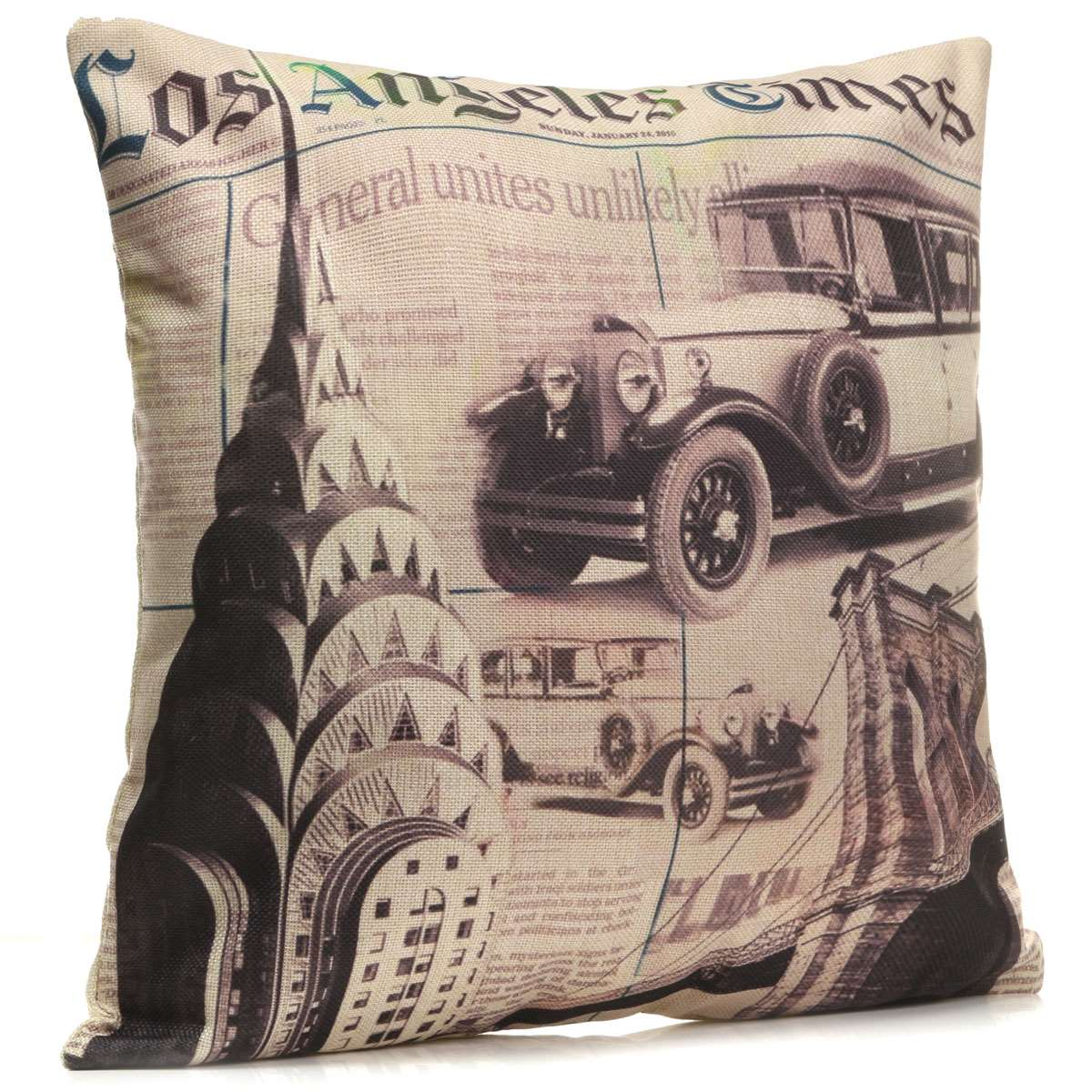 43X43cm Cotton Linen Throw Pillow Cover Vintage Vehicle Los Angeles Times Pillow Case Home Hotel Supplie Soft Pillowcase Square(China (Mainland))