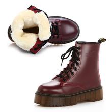 Mujeres de la Plataforma Botas de Nieve de invierno de piel de felpa caliente de Martin zapatos de tacón alto Antideslizantes inferiores Dichotomanthes(China (Mainland))