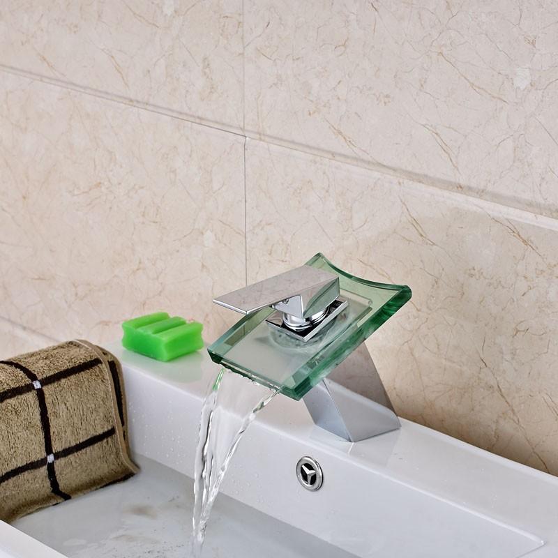 Купить На бортике LED 3 Изменение Цвета Стекла Водопад Ванной Кран Однорычажный Сосуд Раковина Смесители