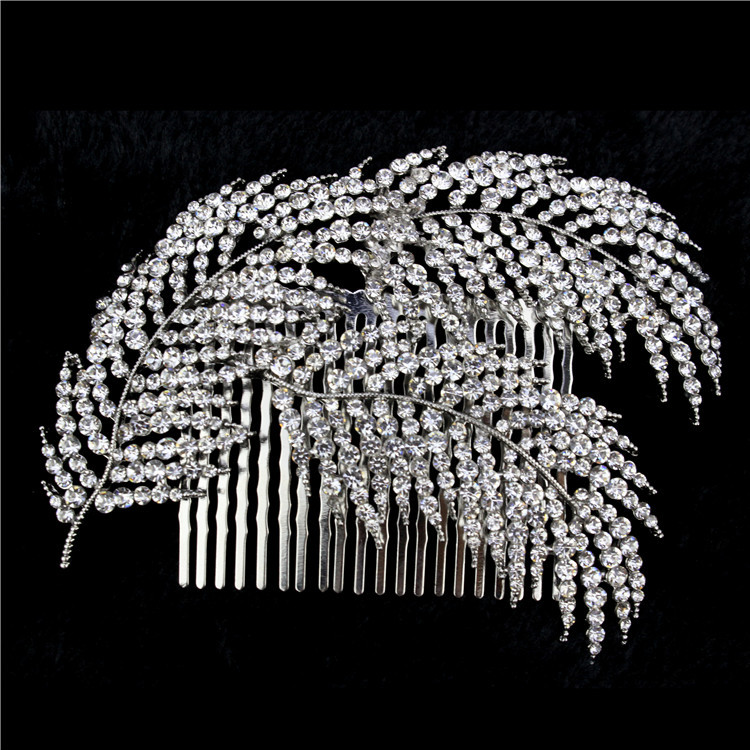 2015 New feather Wedding Hair Comb Austrian Crystal Bridal Headpiece Accessories For Bridesmaid(China (Mainland))