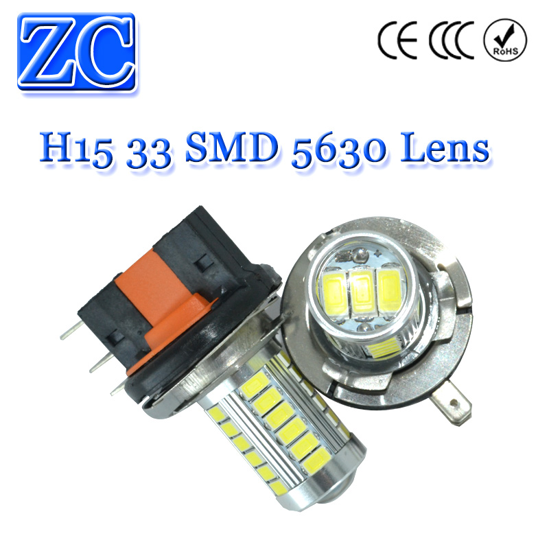 10X H15 33 SMD 5630 LED Lens White Daytime Running Light DRL Bulb Fog Lamp 12V Car Lights Headlight Low Beam - Zhenccy Auto Accessories Manufacturing Co.,Ltd. store
