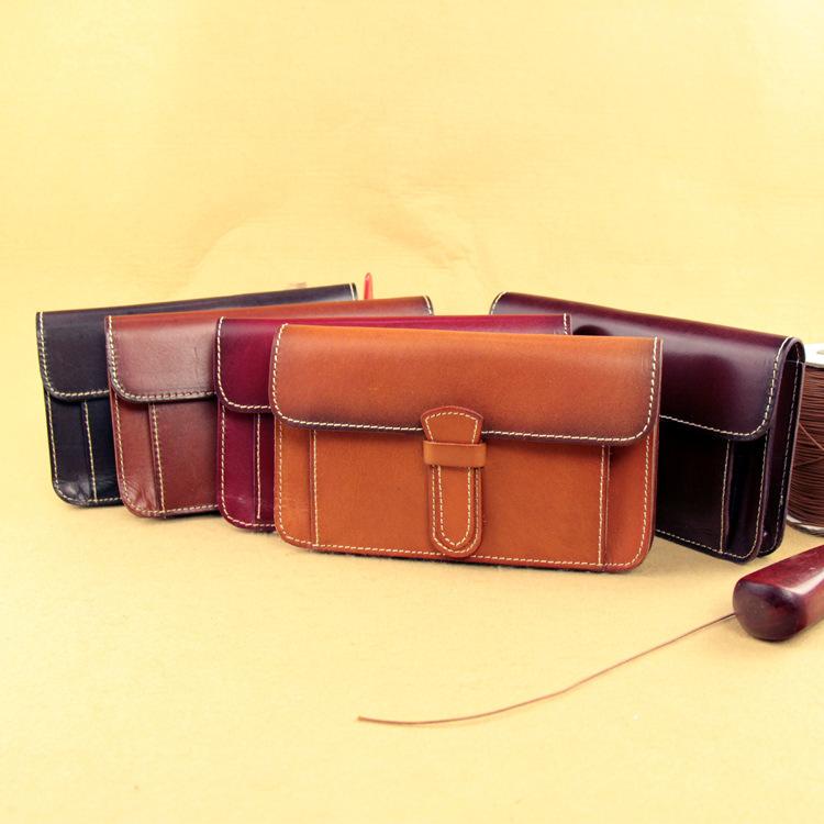 Vegetable tanned full grain leatherleather original neutral clutch bag long bi-fold leather wallet-style hand-vintage PURSE - LGF Design store