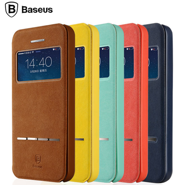 Original BASEUS Simple Series Smart Window Full Cover For Iphone 5 5s Case Flip PU Leather Phone Bag For Iphone 5g(China (Mainland))