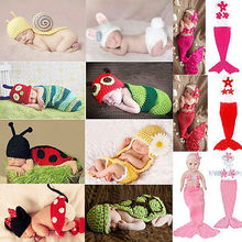 Wrap Newborn Set Infant Baby Girl Boy Crochet Knit Costume Clothes Photo Photography Prop Outfit Caps Baby Knit Costume Mermaid(China (Mainland))